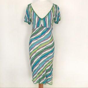 Missoni knit Dress Blue Green Purple Stripes US 2